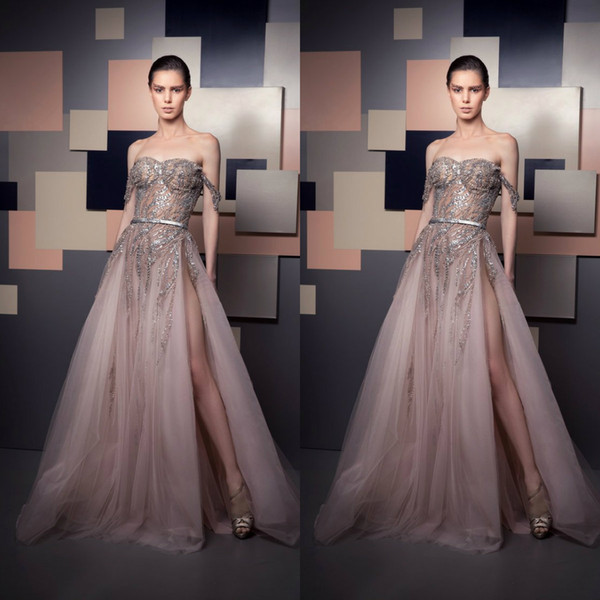 2019 Ziad Nakad Evening Dresses Off Shoulder Luxury Beads Sequins Illusion Bodice Sexy High Side Split Prom Dress Party Wear Special Gowns