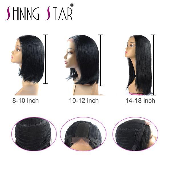 Pelucas cortas de Bob Pelucas brasileñas del pelo humano del frente del cordón del pelo virginal brasileño recto para las mujeres negras Peluca delantera del cordón suizo