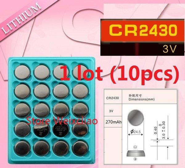 10pcs 1 lot CR2430 3V lithium li ion button cell battery CR 2430 3 Volt li-ion coin batteries tray package Free Shipping