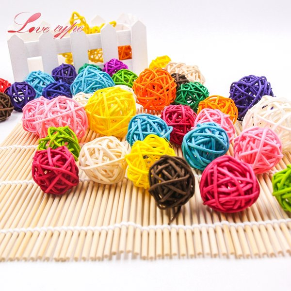 Cheap Party DIY Decorations 30PCS Mutil Colors 3CM Round Rattan Ball Colorful Sepak Takraw For Christmas Birthday Party & Home Wedding