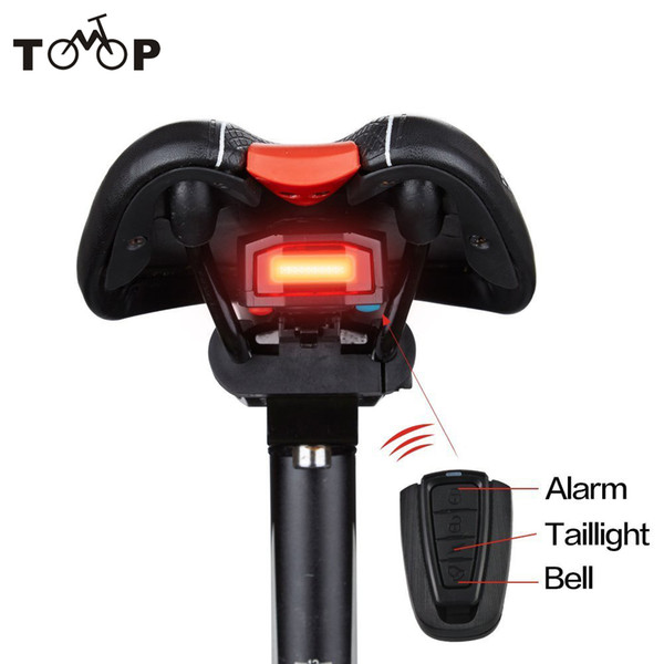 LED Cycling Strobe Warning Electric Bell with Wireless Remote Bike Taillights Intelligent Anti-Theft Bicycle Tail Light Alarm Y1892809
