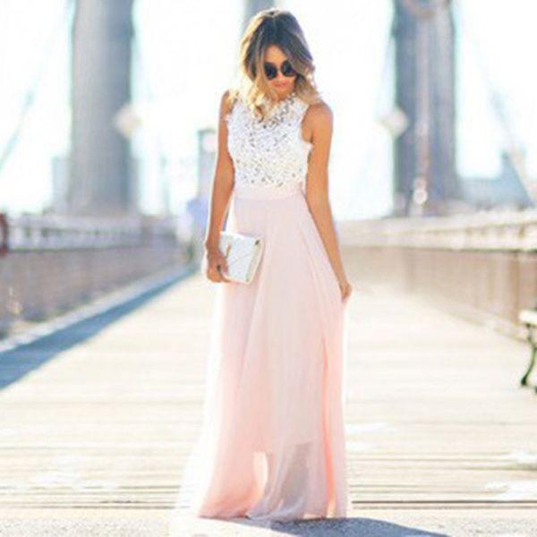 Atacado- novas mulheres boho longo dress sexy rosa praia vestidos de renda vestido de verão plus size