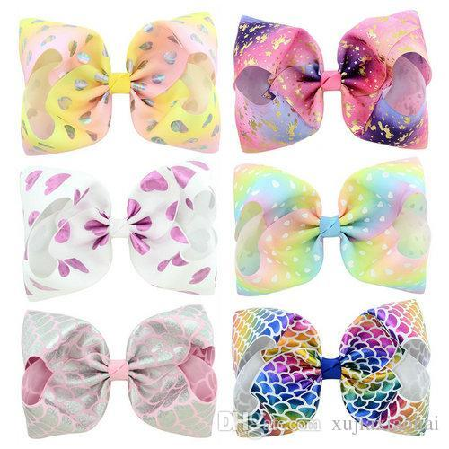 Hot sale 6 Designs JOJO Bow style 8 inch Colorful Big Bowknot Girl Hairpin heart Scale Printed Children Barrette Beautiful Hair accessories
