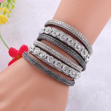 Multicouche en cuir Wrap Bracelet manchette Punk Cristal strass Bracelet Bangle