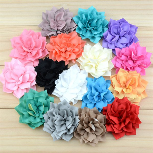 16pcs/lot 16colors Artificial Pretty Lotus Fabric Flowers for Girls Headbands DIY Garments Hair Decorative Accessories