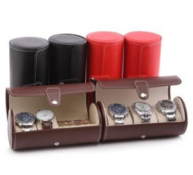 Watch Storage Box Watches Ring Organizer 3 Grid Cylinder PU Leather Jewelry Display Storage Case Portable Watch Holder