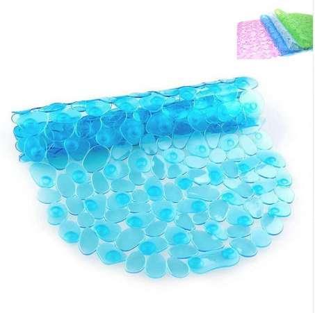 65x36cm Bathroom Supplies Cobblestone Anti-Slip Bath Mat with Suction Cup Waterproof PVC Mats