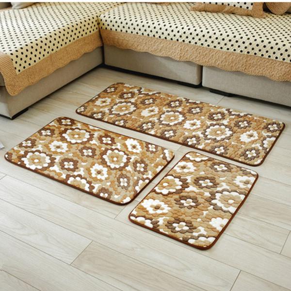 3 pcs/set Lovely Cushion Slippery Floor Mat Bedroom Doormat Living Room Bedside Mat Bathroom Floor Mat Set Rugs For Kitchen Antislip Rug
