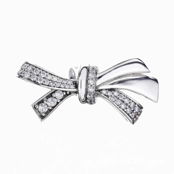 2018 Mother's Day Authentic 100% 925 Sterling Silver Brilliant Bow Charm, Clear CZ Beads Fit Pandora Charms Bracelet Diy Jewelry Making