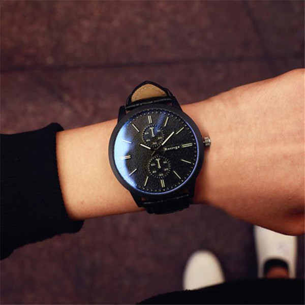 Minimalist Fashion Couples Watches For Women Men Leather Strap Big Dial Quartz Watch Female Clock Personality Wrist Watches