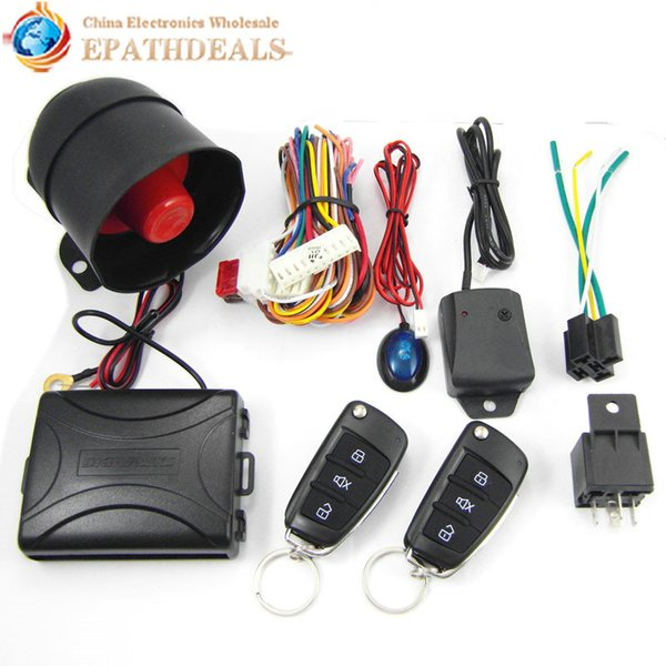 CA703-8118 One Way Auto Car Alarm Systems & Central Door Locking Security Key with Remote Control Siren Sensor for