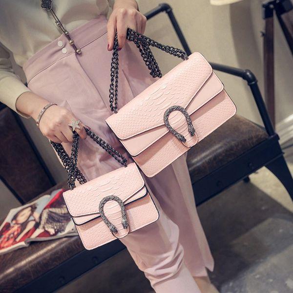 top popular 2019 New Designer Handbags Snake Leather Embossed Fashion Women Bag Chain Crossbody Bag Brand Designer Messenger Bag Sac A Main 2019