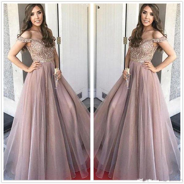 Compre 2018 Elegante Verano Fuera Del Hombro Organza Una Línea Vestidos De Fiesta Con Pedrería Rhinestones Piso Superior Longitud Fiesta Vestidos De