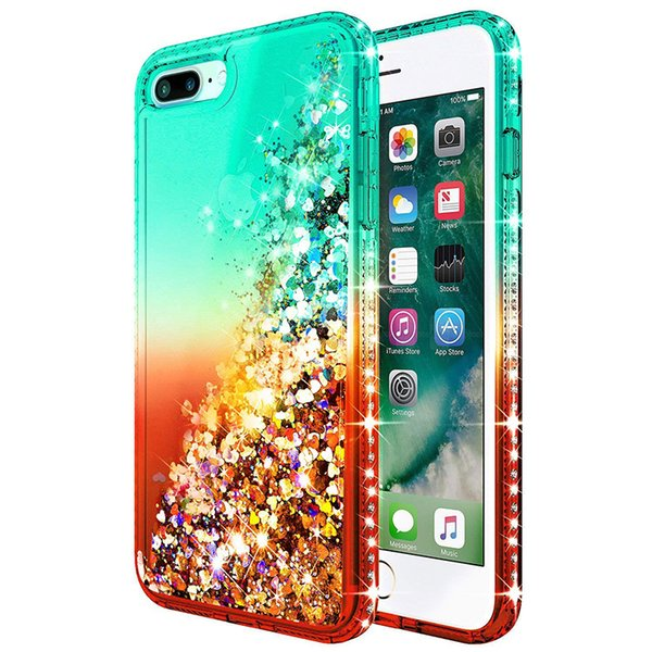 For Iphone 8 Plus Case Luxury Glitter Quicksand Liquid Floating Flowing  Sparkle Shiny Bling Diamond Phone Cases For Iphone 8 Plus Cute Phone Cases