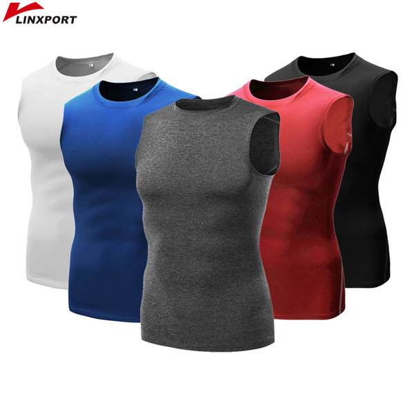 Professional Tight Tops Men Quick Drying Sleeveless Shirts Base Layer Tees Sport Gear Gym Running Yoga Training Fitness T-shirt
