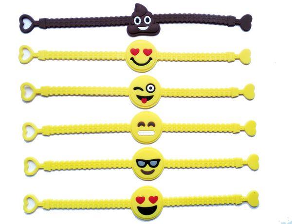 Pawliss Emoji Armbänder Armband Birthday Party Favors Zubehör für Kinder Mädchen Emoticon Spielzeug Preise Geschenke Gummiband Armband