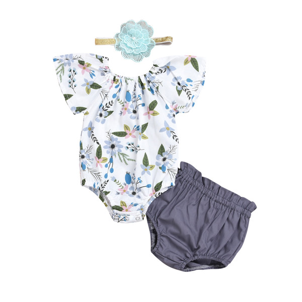 298fb7a06bc 2018 INS baby girl toddler Summer 3piece set outfits Floral Off Shoulder Romper  Onesies Jumpsuits + Shorts Pants Bloomers wtih Bow headband
