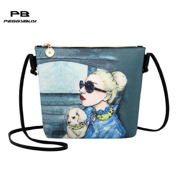 Frauen Mode Schulter Crossbody Handtaschen Teen Mädchen Pu-leder Blumendruck Kleine Messenger Bags Weibliche Reise Handtasche Totes