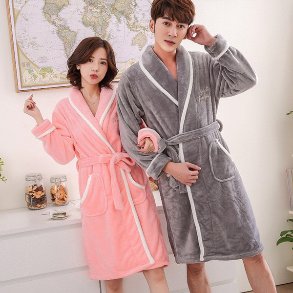Winter Lovers Adult Coral Bathrobe Letter Women/Men Nightgown Dressing Gowns Warm Bath Robes Home Clothes