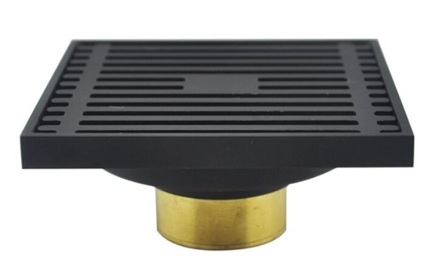 best selling copper brass bath Shower Drain matte Black Bathroom Floor Drain Square Anti-odor bath Floor Waste Grates 100X100MM bathroom drainer DR555