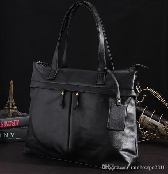 Orijinal marka çanta moda üç boyutlu cep moda evrak çantası basit büyük kapasiteli eğlence çanta deri iş çantası