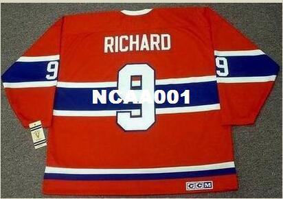 Mens # 9 MAURICE RICHARD Montreal Canadiens 1946.1959 CCM Weinlese-Retro Hockey Jersey oder Gewohnheit irgendein Name oder Zahl Retro Jersey