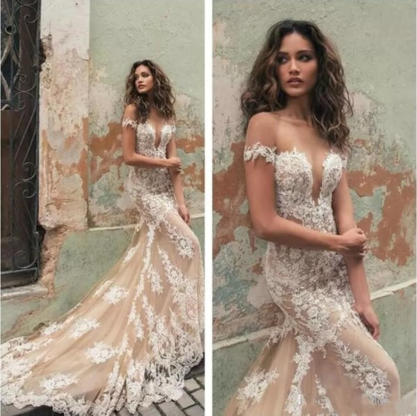 Berta 2018 Sheer Neck Bridal Gowns Cap Sleeves Lace Applique Mermaid Wedding Dresses Tulle Sweep Train Plus Size Wedding Dress