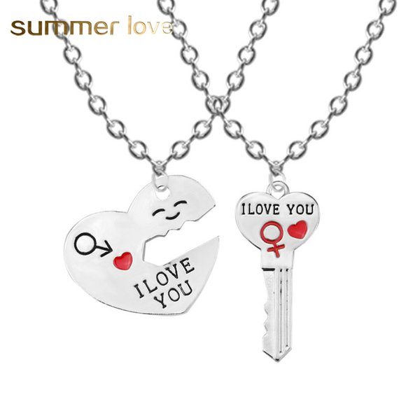 I love you couple necklace for woman heart key charm pendant necklace statement jewelry set simle romantic lover gift keychain key rings