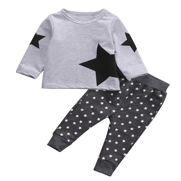 Popular Winter Warm Long Sleeve Round Neck Starts HOT Baby Boys Kids Sweatshirt T shirt Pants Two PCS Outfits Set Tracksuit