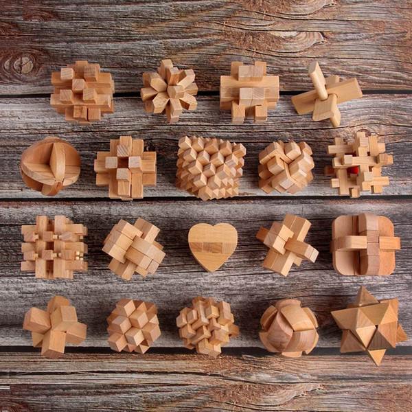 Novo Design QI Cérebro Teaser Kong Ming Bloqueio De Madeira 3D Intertravamento Burr Puzzles Jogo Toy Intelectual Educacional Para Adultos Crianças