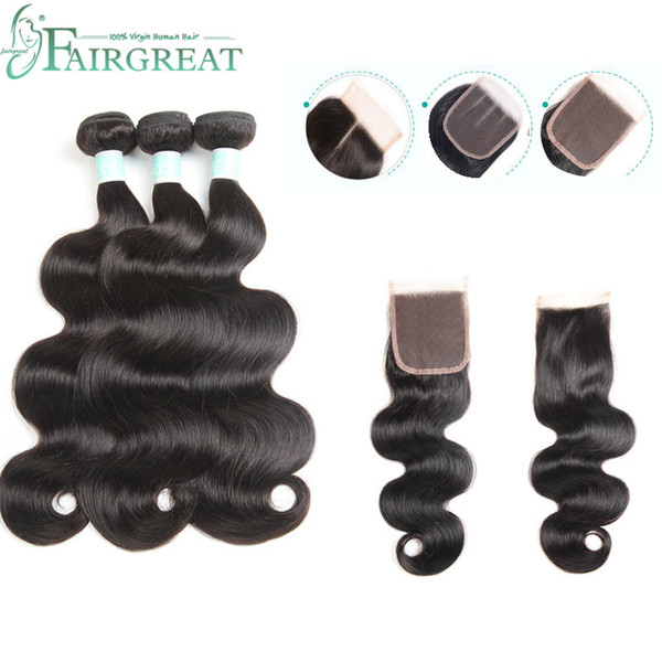 Paquetes de Body Wave con cierre Paquetes de armadura de cabello brasileños con cierre Paquetes de cabello humano 100% con cierre Extensiones de cabello Fairgreat