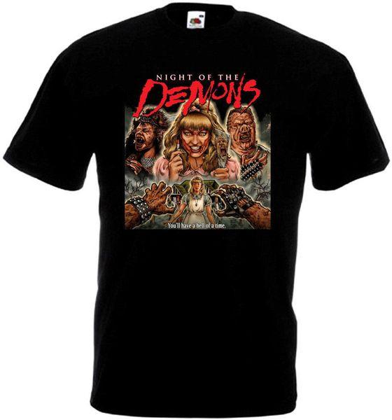 Uomo marca Clothihng Top Quality Fashion Uomo T Shirt 100% Cotone Night of the Demons v1 T-shirt poster film nero tutte le taglie S ... 3XL