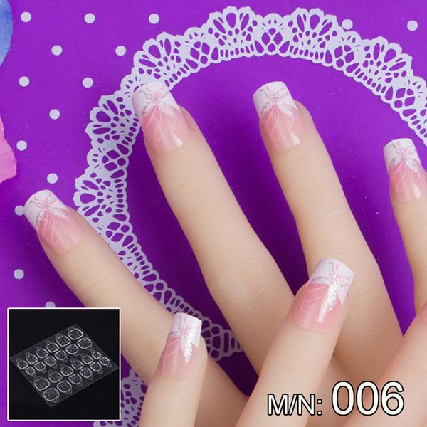 JQ 24 pcs in 1 Box With Nail Glue Tape Stars Pattern Press On False Nail Art Tips Full Cover Fake Tip 10 Sizes JQ006