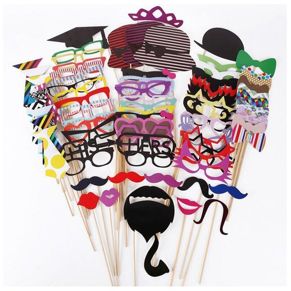 Wedding party decoration Birthday Christmas new year event favors 76Pcs/Set Colorful Fun Lip Mustache Creative Photo Booth Props