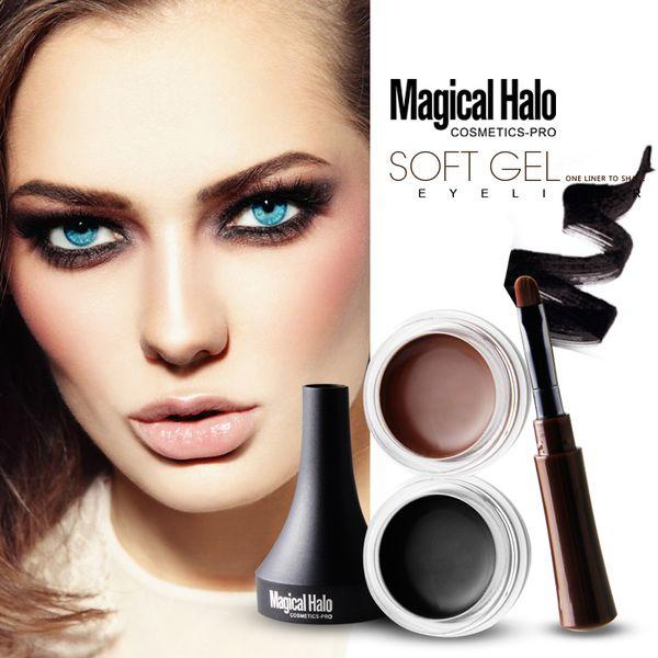 Magical Halo 2Color Waterproof Makeup Eyeliner Gel Smooth Easy to Wear Black Brown Color Pigment Eyebrow Enhancer Cream E17005 EMS DHL