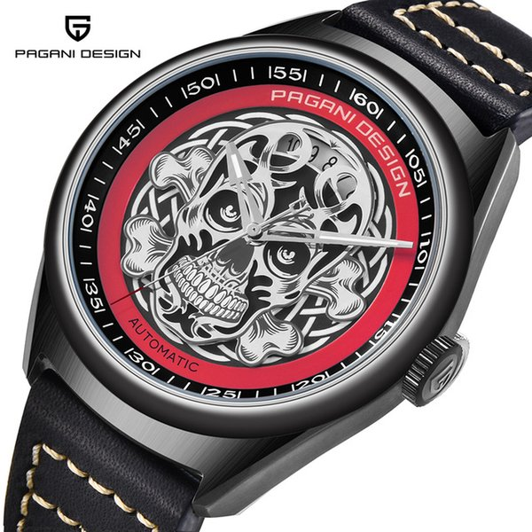PAGANI DESIGN New Men's Classic 3D Skull Punk Style Mechanical Watches Waterproof Genuine Leather Brand Luxury Automatic Watch