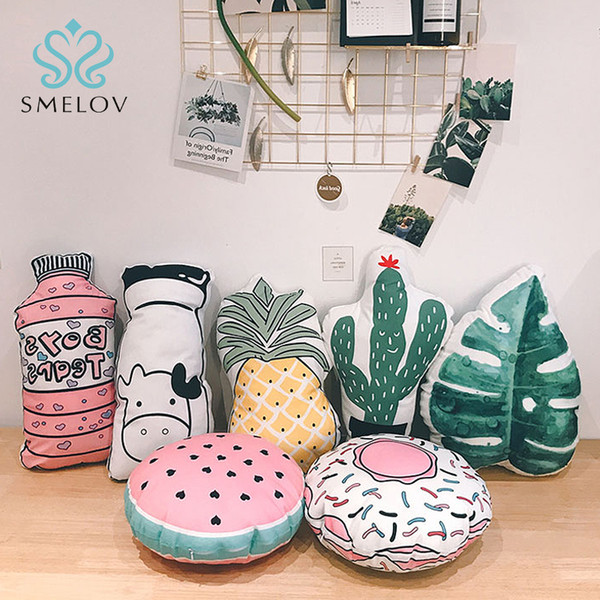 wholesale cute fashion 3D fruit pillow home decor pillows Pineapple cactus Plant throw pillow office chair sofa bed back cushion