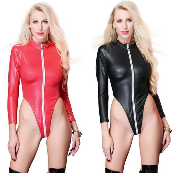 Women's Plus Size Sexy Teddies Patent Leather Costumes Zipper Cross Crotch For Bar Clubwear Stripper Party Fancy Dress