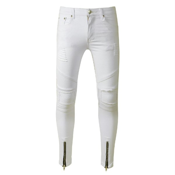 White Skinny Ripped Jeans Men Zipper Cuff Super Slim Stretch Denim Jeans Pants Male Streetwear Hip Hop Biker Trousers Black Blue