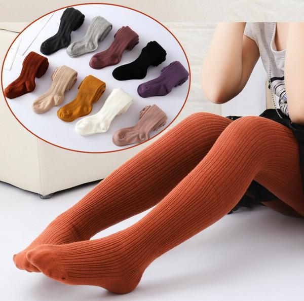 Nuevos niños chicas ajustadas Leggings de rayas verticales niños de algodón tejer chicas ajustadas baile medias de algodón pantalones de niñas pantimedias F0208