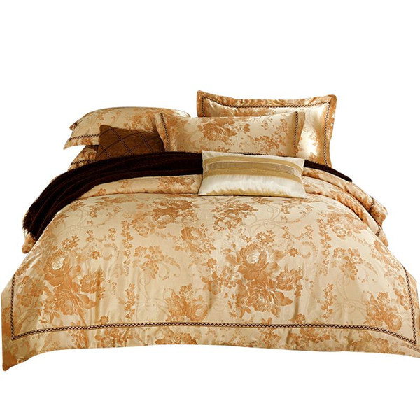 Wholesale- Svetanya Golden Silk Cotton Bedlinen Queen King Size Bedding Sets Jacquard duvet cover+flat sheet+pillowcases 4pcs