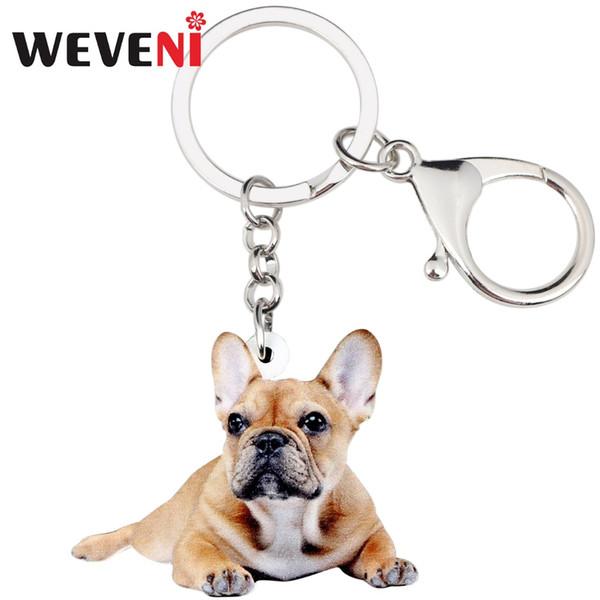 WEVENI Acrílico Novidade Bulldog Francês Cão Pug Chaveiro Chaveiro Anel Animal Jóias Para As Mulheres Menina Bolsa Charme Do Carro Por Atacado