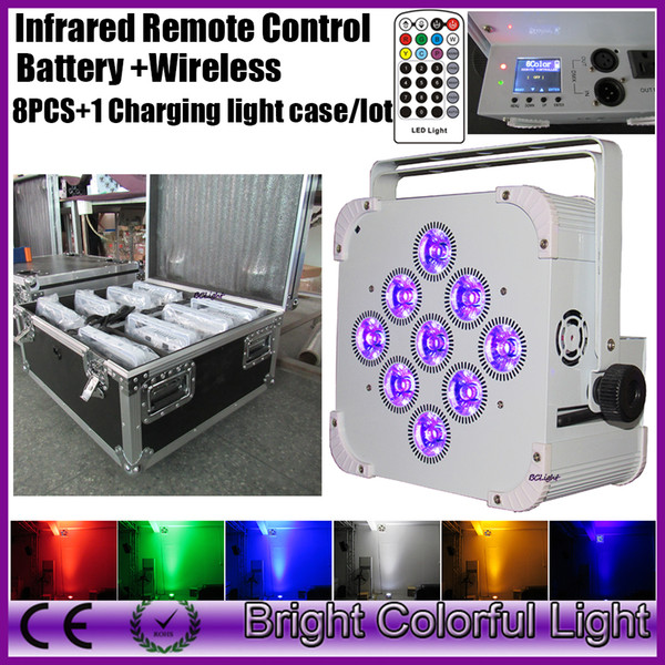 8XLOT+road case 2016 Sell best RGBWA UV 6 IN 1 rechargeable led battery wireless dmx led par uplight with Infrared controller