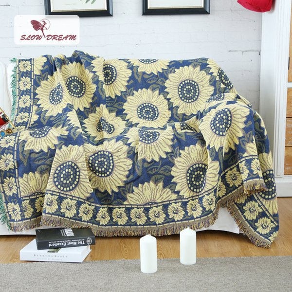 SLOWDREAM Knitted Blanket Throw Sunflower Autumn Winter Plain Warm Thicken Blanket Child Adult Bedspread Sofa Bed Covers Quilts