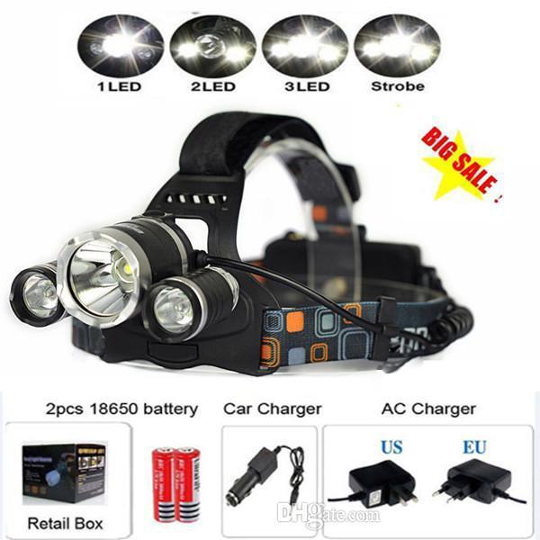 6000Lm CREE XML T6 + 2R5 LED Phare Lampe frontale Lampe frontale Lampe 4-mode torche + 2x18650 batterie + UE / US Chargeur de voiture pour des lumières de pêche