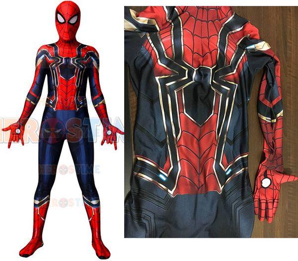 2018 New MCU Version 3 Iron Spiderman Superhero Costume Spandex Cosplay Halloween Spider Fullbody Suit For Adult/Kids/Custom Made