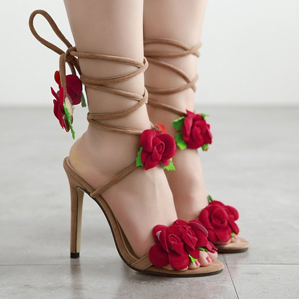 New summer women sandals red rose flower cross strappy sexy high heels open toe flock heels gladiator big size ladies shoes