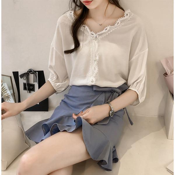 Корейский стиль женщины блузка рубашки кружева v шеи 2018 Лето 3/4 рукава элегантный женский OL Blusa топ WS9568k