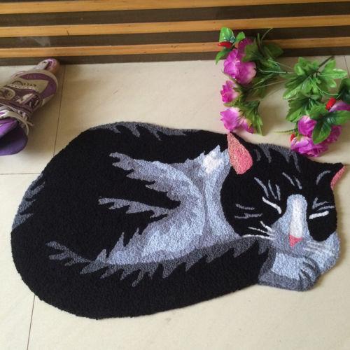 Tapis de sol antidérapant fait main 3D tapis animalier tapis extérieur intérieur paillasson chat noir et blanc