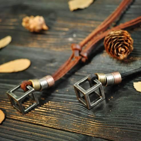 100% Genuine Leather Men Necklaces Cross Pendants Punk Vintage Adjustable Brown Black Rope Chain Male Jewelry Mens Jewelery